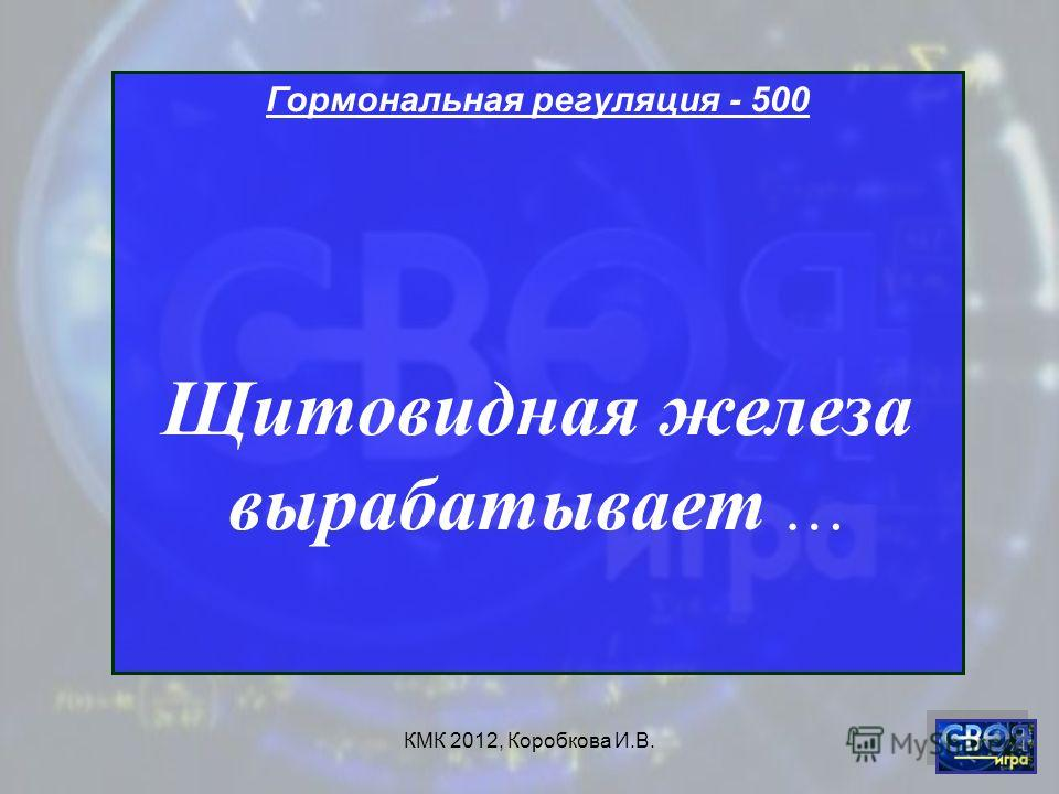 КМК 2012, Коробкова И.В. Гормональная регуляция - 500 Щитовидная железа вырабатывает …