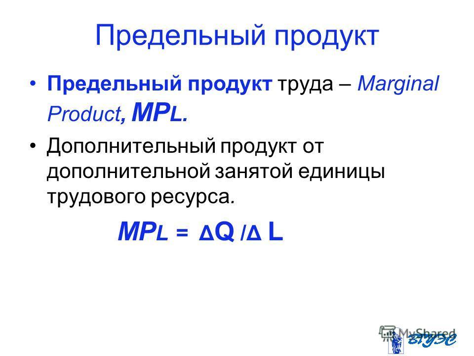 Предельный продукт Предельный продукт труда – Marginal Product, MP L. Дополнительный продукт от дополнительной занятой единицы трудового ресурса. MP L = Δ Q /Δ L