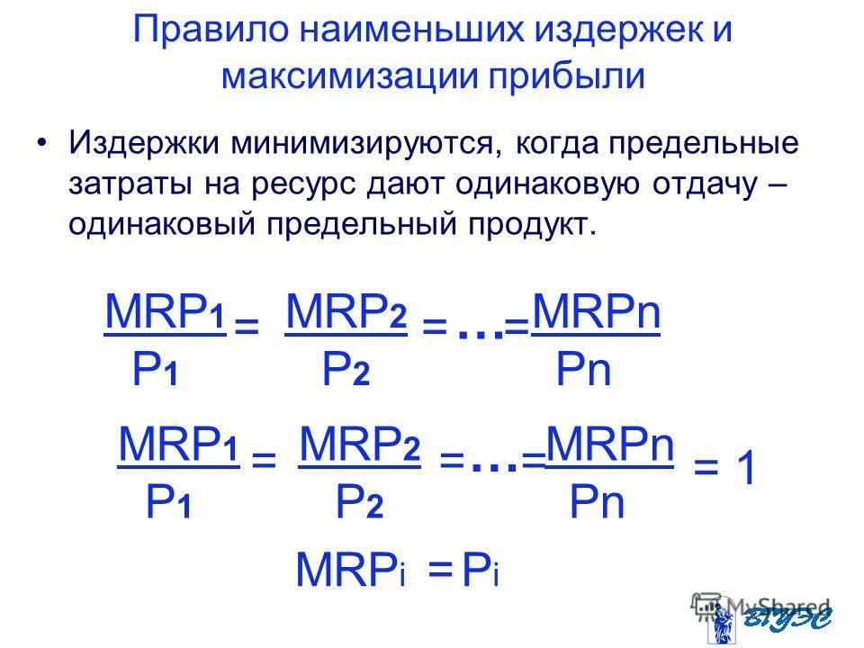 Правило наименьших издержек и максимизации прибыли Издержки минимизируются, когда предельные затраты на ресурс дают одинаковую отдачу – одинаковый предельный продукт. MRP 1 MRP 2 MRPn P 1 P 2 Pn = = = … = 1 MRP i = P i MRP 1 MRP 2 MRPn P 1 P 2 Pn = =