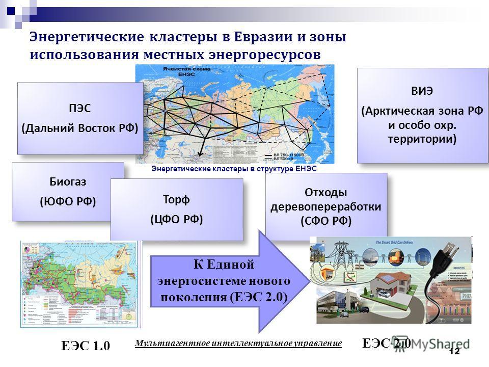 Энергетические кластеры в Евразии и зоны использования местных энергоресурсов ПЭС ( Дальний Восток РФ ) ВИЭ ( Арктическая зона РФ и особо охр. территории ) Отходы деревопереработки ( СФО РФ ) Биогаз ( ЮФО РФ ) Торф ( ЦФО РФ ) 12 ЕЭС 2.0 ЕЭС 1.0 Мульт