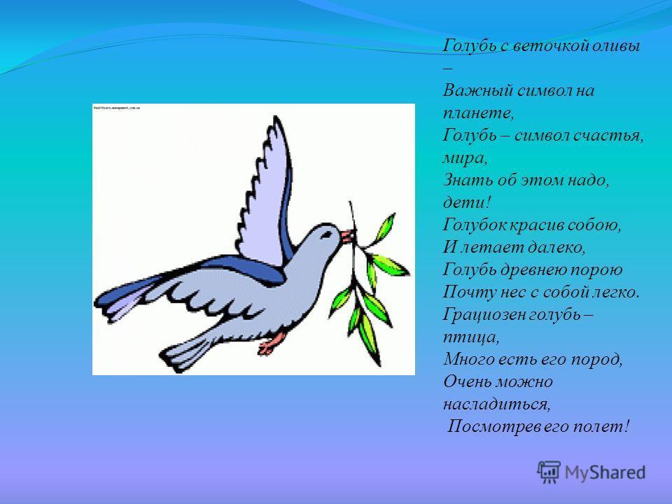 Голубь с веточкой оливы – Важный символ на планете, Голубь – символ счастья, мира, Знать об этом надо, дети! Голубок красив собою, И летает далеко, Голубь древнею порою Почту нес с собой легко. Грациозен голубь – птица, Много есть его пород, Очень мо