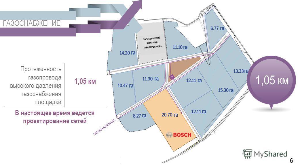 ГАЗОСНАБЖЕНИЕ ЛОГИСТИЧЕСКИЙ КОМПЛЕКС «ПРИДОРОЖНЫЙ» га ГАЗОСНАБЖЕНИЕ 1,05 км Протяженность газопровода высокого давления газоснабжения площадки 1,05 км В настоящее время ведется проектирование сетей 6