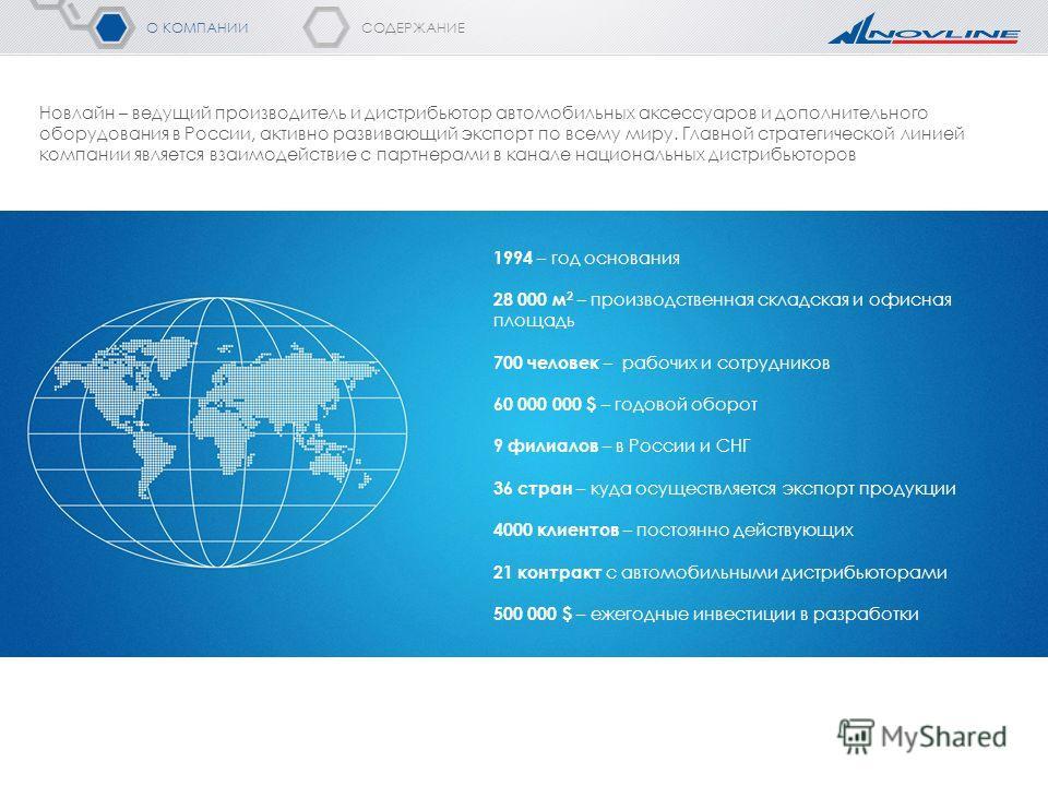 СОДЕРЖАНИЕ О КОМПАНИИ Новлайн – ведущий производитель и дистрибьютор автомобильных аксессуаров и дополнительного оборудования в России, активно развивающий экспорт по всему миру. Главной стратегической линией компании является взаимодействие с партне