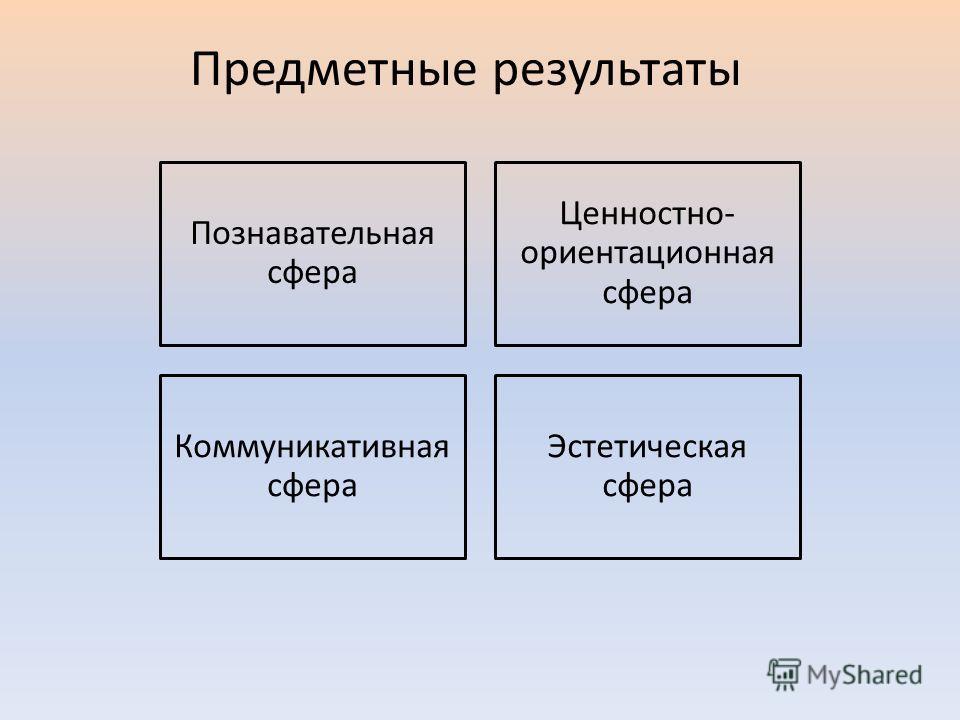 Познавательная сфера Ценностно- ориентационная сфера Коммуникативная сфера Эстетическая сфера Предметные результаты