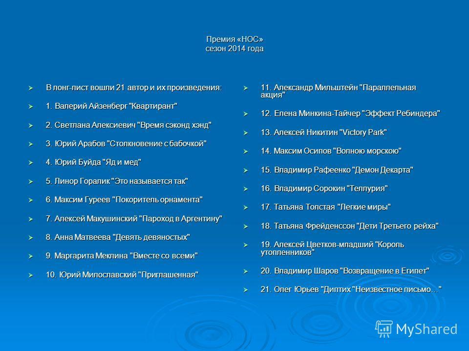 Премия «НОС» сезон 2014 года В лонг-лист вошли 21 автор и их произведения: В лонг-лист вошли 21 автор и их произведения: 1. Валерий Айзенберг