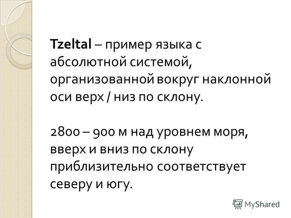 Tzeltal – пример языка с абсолютной системой, организованной вокруг наклонной оси верх / низ по склону. 2800 – 900 м над уровнем моря, вверх и вниз по склону приблизительно соответствует северу и югу.