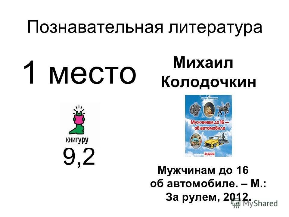 Познавательная литература 1 место 9,2 Михаил Колодочкин Мужчинам до 16 об автомобиле. – М.: За рулем, 2012.