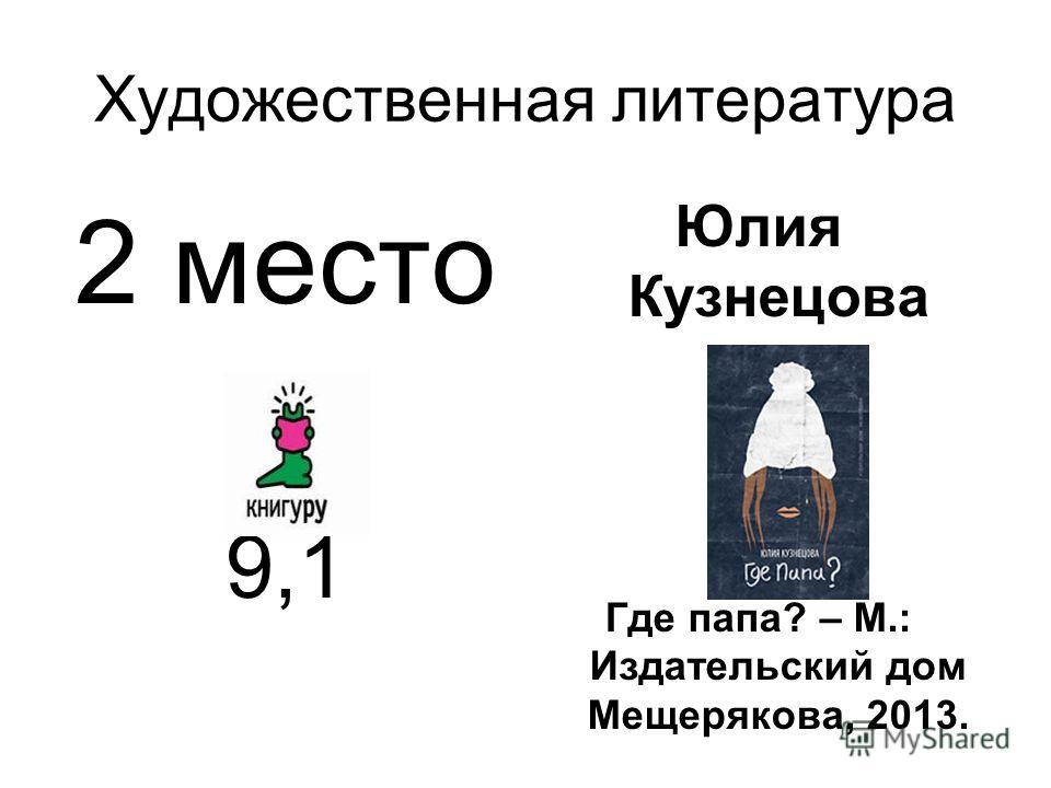 Художественная литература 2 место 9,1 Юлия Кузнецова Где папа? – М.: Издательский дом Мещерякова, 2013.