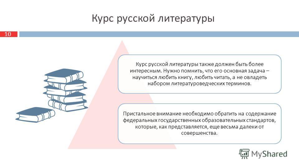 10 Курс русской литературы Курс русской литературы также должен быть более интересным. Нужно помнить, что его основная задача – научиться любить книгу, любить читать, а не овладеть набором литературоведческих терминов. Пристальное внимание необходимо