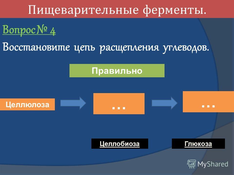 Пищеварительные ферменты. Вопрос 4 Восстановите цепь расщепления углеводов. … Целлюлоза … Целлобиоза Глюкоза Правильно