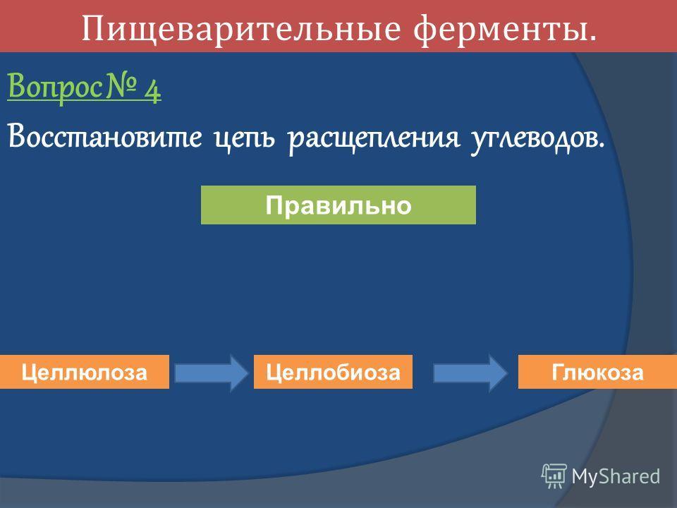 Пищеварительные ферменты. Вопрос 4 Восстановите цепь расщепления углеводов. Целлюлоза Целлобиоза Глюкоза Правильно