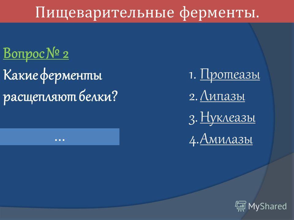 Пищеварительные ферменты. Вопрос 2 Какие ферменты расщепляют белки? 1. Протеазы Протеазы 2. Липазы Липазы 3. Нуклеазы Нуклеазы 4. Амилазы Амилазы …