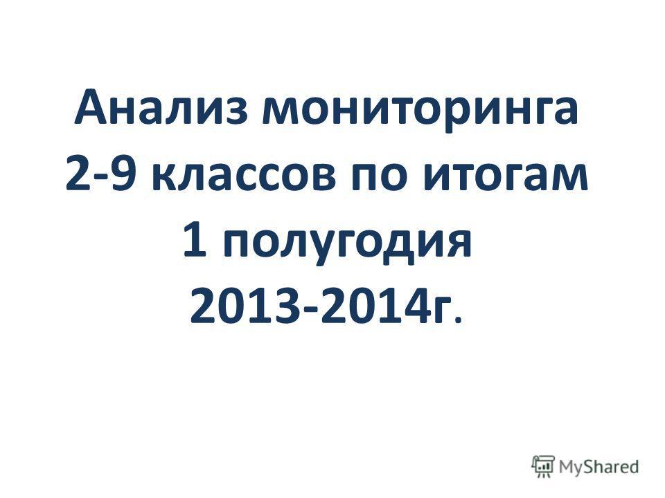 Анализ мониторинга 2-9 классов по итогам 1 полугодия 2013-2014 г.