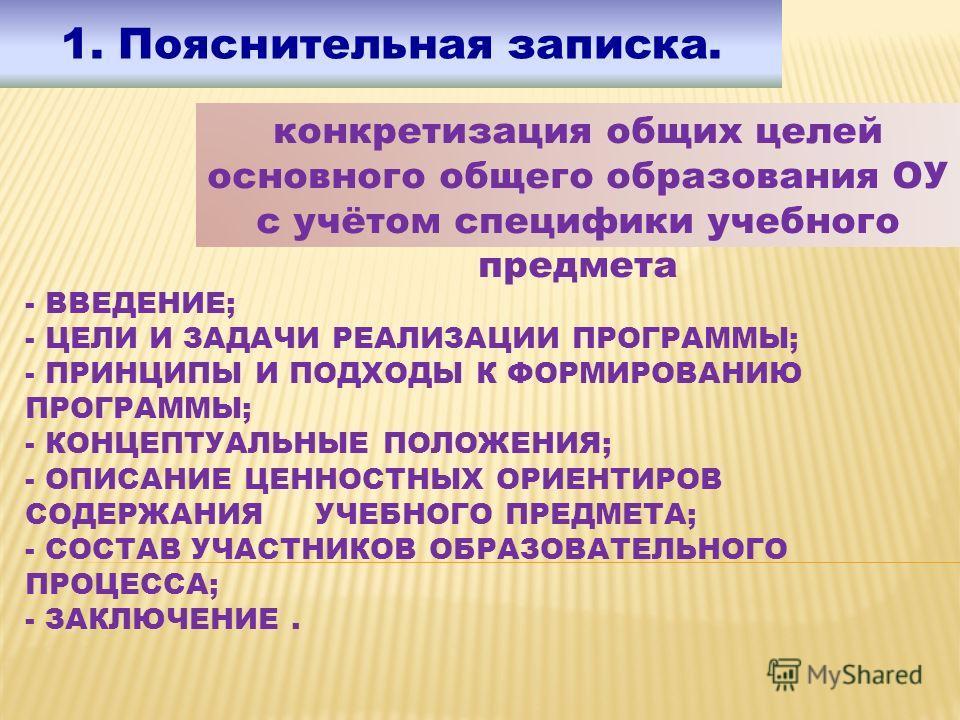 - ВВЕДЕНИЕ; - ЦЕЛИ И ЗАДАЧИ РЕАЛИЗАЦИИ ПРОГРАММЫ; - ПРИНЦИПЫ И ПОДХОДЫ К ФОРМИРОВАНИЮ ПРОГРАММЫ; - КОНЦЕПТУАЛЬНЫЕ ПОЛОЖЕНИЯ; - ОПИСАНИЕ ЦЕННОСТНЫХ ОРИЕНТИРОВ СОДЕРЖАНИЯ УЧЕБНОГО ПРЕДМЕТА; - СОСТАВ УЧАСТНИКОВ ОБРАЗОВАТЕЛЬНОГО ПРОЦЕССА; - ЗАКЛЮЧЕНИЕ. 1