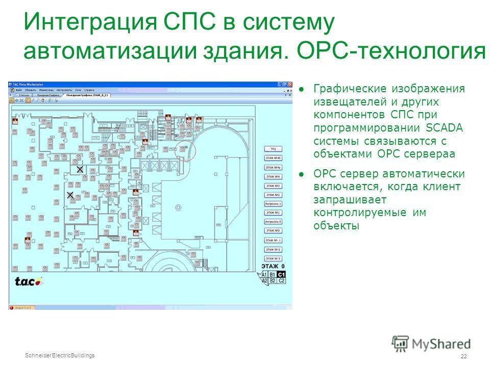 Schneider Electric 22 Buildings Интеграция СПС в систему автоматизации здания. OPC-технология Графические изображения извещателей и других компонентов СПС при программировании SCADA системы связываются с объектами OPC сервераа OPC сервер автоматическ