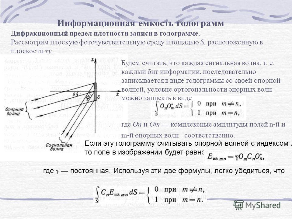 Информационная емкость голограмм Дифракционный предел плотности записи в голограмме. Рассмотрим плоскую фоточувствительную среду площадью S, расположенную в плоскости ху, Будем считать, что каждая сигнальная волна, т. е. каждый бит информации, послед