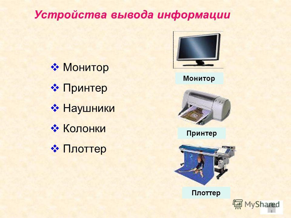 Устройства вывода информации Монитор Принтер Наушники Колонки Плоттер Принтер Монитор