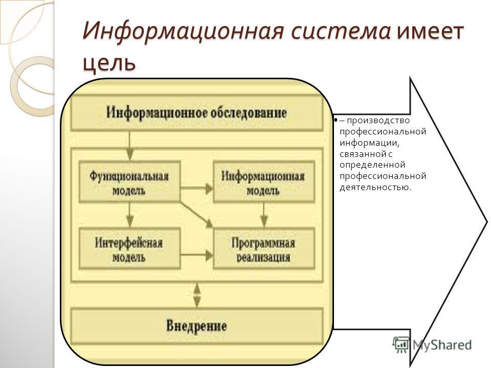 Информационная система имеет цель – производство профессиональной информации, связанной с определенной профессиональной деятельностью.