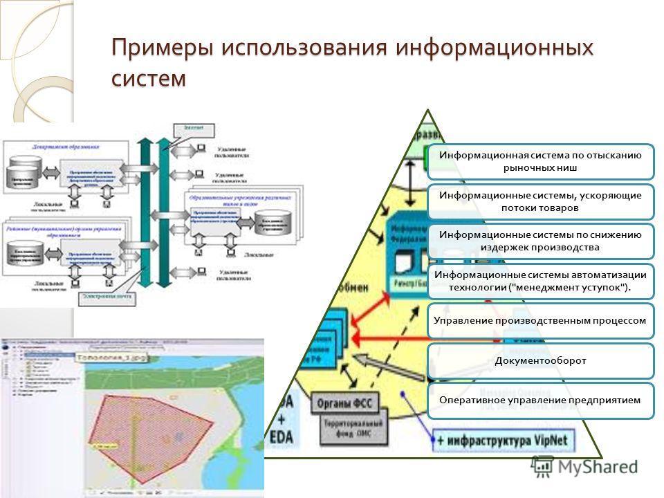 Примеры использования информационных систем Информационная система по отысканию рыночных ниш Информационные системы, ускоряющие потоки товаров Информационные системы по снижению издержек производства Информационные системы автоматизации технологии (
