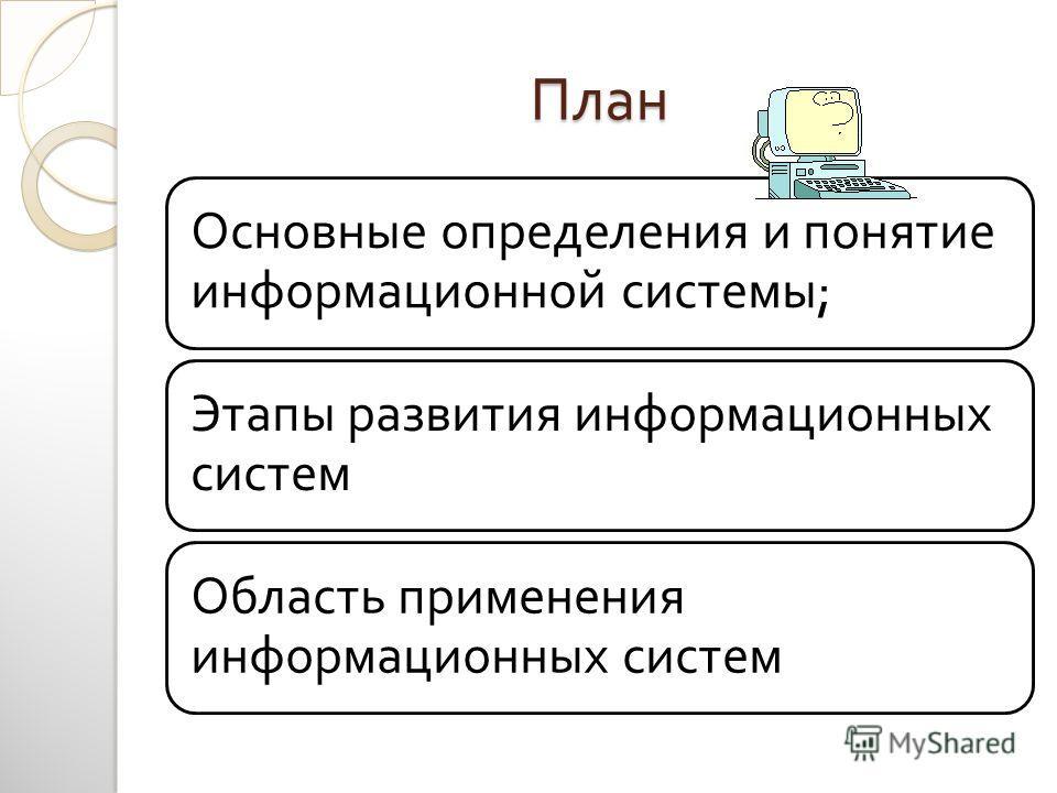 План Основные определения и понятие информационной системы ; Этапы развития информационных систем Область применения информационных систем