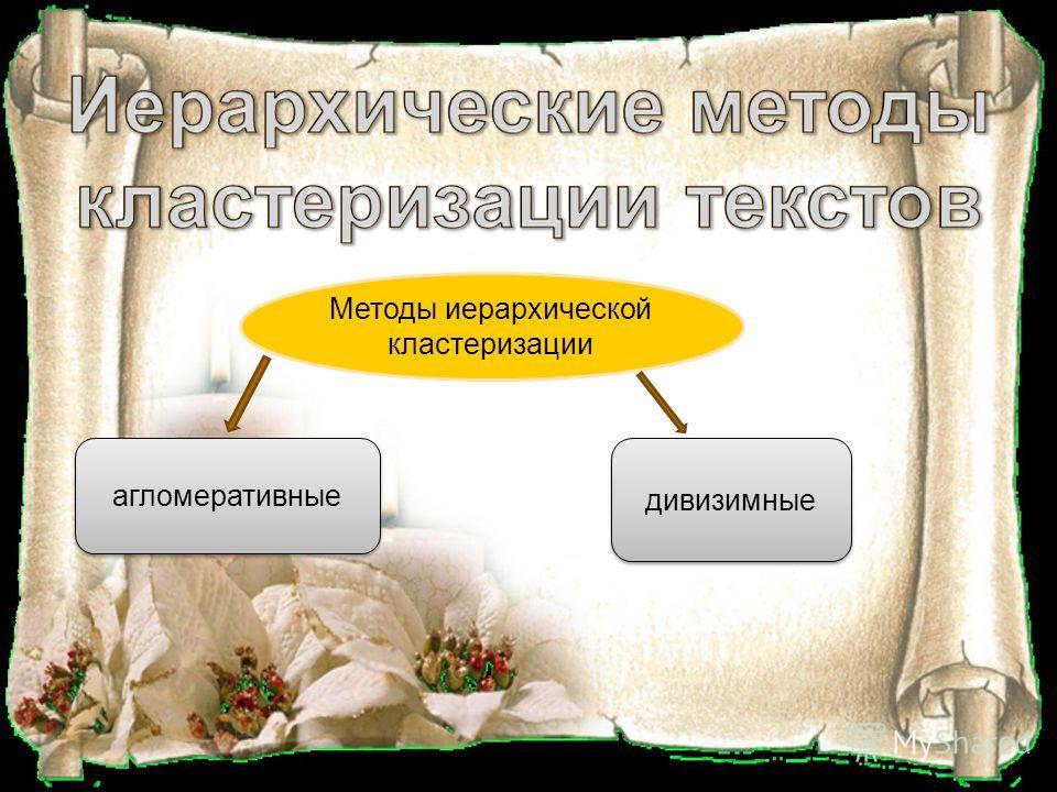 Методы иерархической кластеризации агломеративные дивизимные