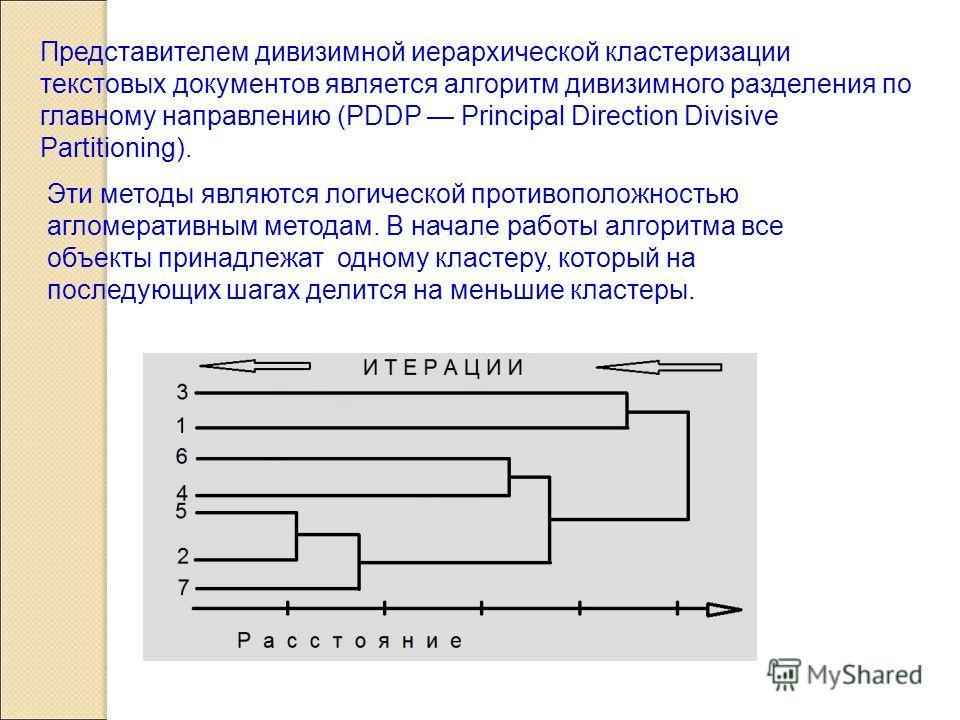 Представителем дивизимной иерархической кластеризации текстовых документов является алгоритм дивизимного разделения по главному направлению (PDDP Principal Direction Divisive Partitioning). Эти методы являются логической противоположностью агломерати