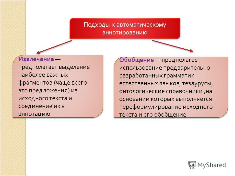 Подходы к автоматическому аннотированию Обобщение предполагает использование предварительно разработанных грамматик естественных языков, тезаурусы, онтологические справочники, на основании которых выполняется переформулирование исходного текста и его