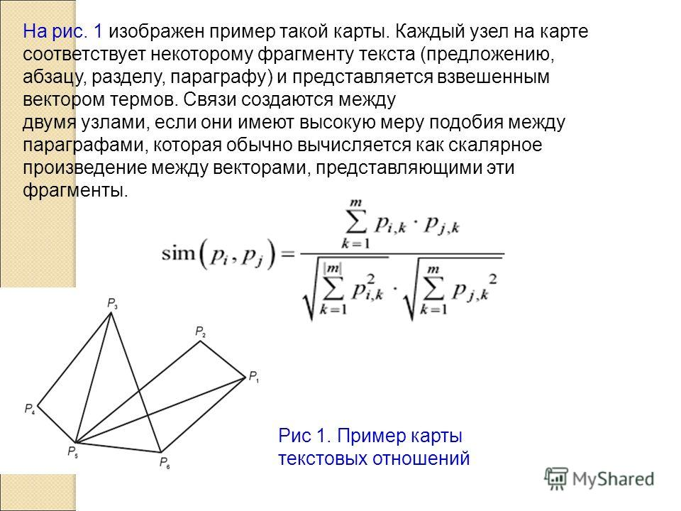 На рис. 1 изображен пример такой карты. Каждый узел на карте соответствует некоторому фрагменту текста (предложению, абзацу, разделу, параграфу) и представляется взвешенным вектором термов. Связи создаются между двумя узлами, если они имеют высокую м