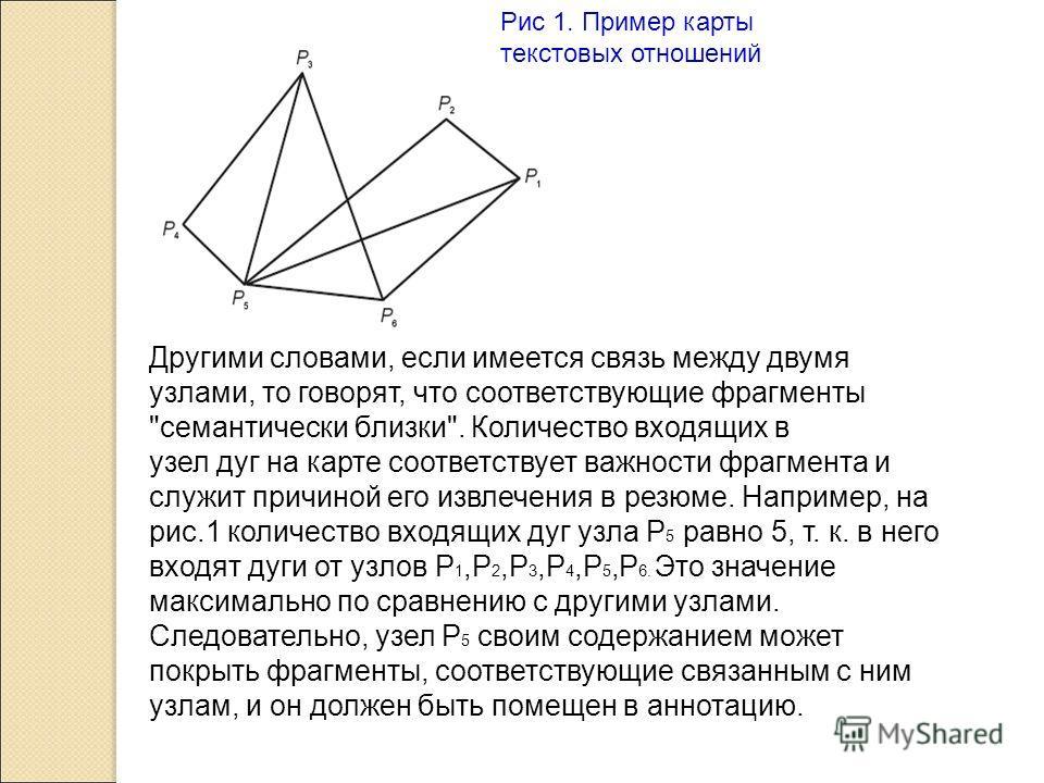 Рис 1. Пример карты текстовых отношений Другими словами, если имеется связь между двумя узлами, то говорят, что соответствующие фрагменты