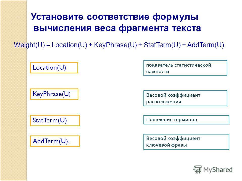 Weight(U) = Location(U) + KeyPhrase(U) + StatTerm(U) + AddTerm(U). Весовой коэффициент расположения Весовой коэффициент ключевой фразы показатель статистической важности Появление терминов Установите соответствие формулы вычисления веса фрагмента тек
