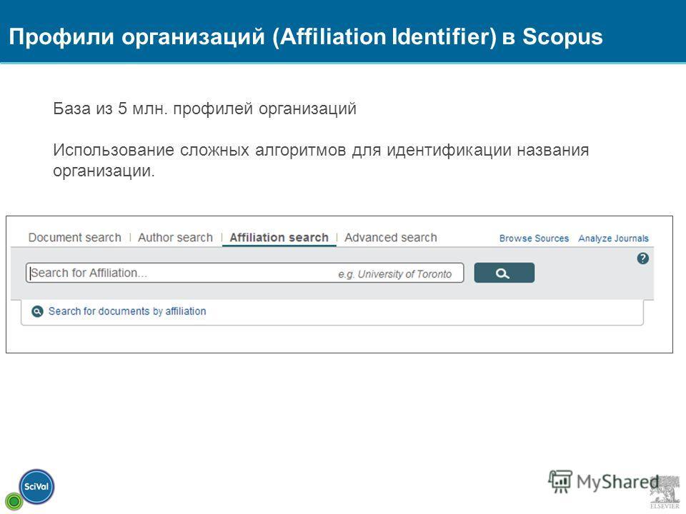 База из 5 млн. профилей организаций Использование сложных алгоритмов для идентификации названия организации. Профили организаций (Affiliation Identifier) в Scopus