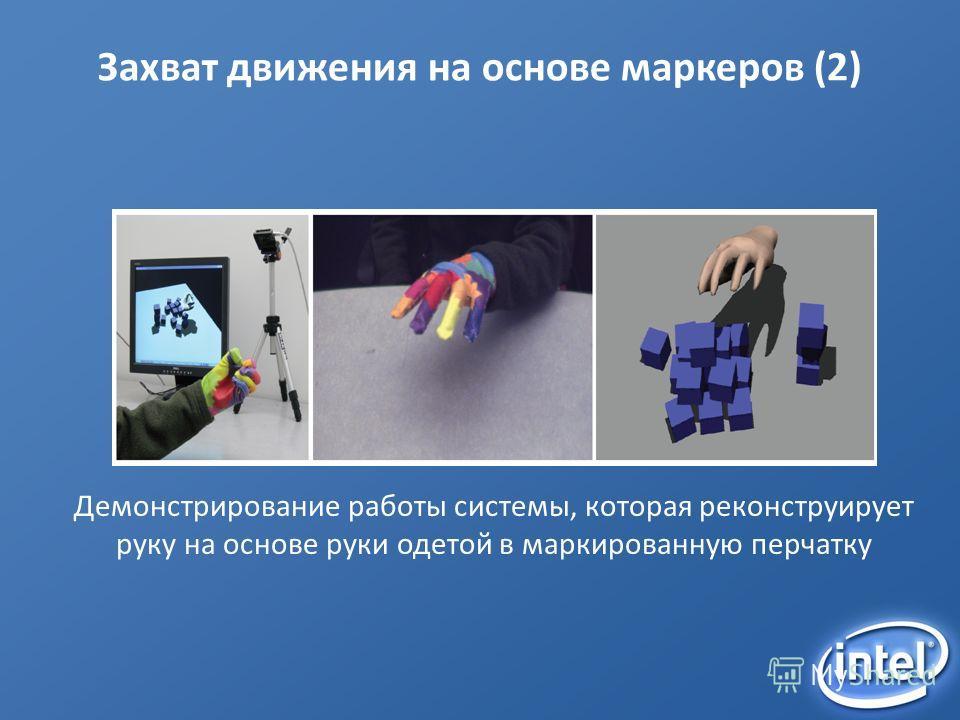 Захват движения на основе маркеров (2) Демонстрирование работы системы, которая реконструирует руку на основе руки одетой в маркированную перчатку
