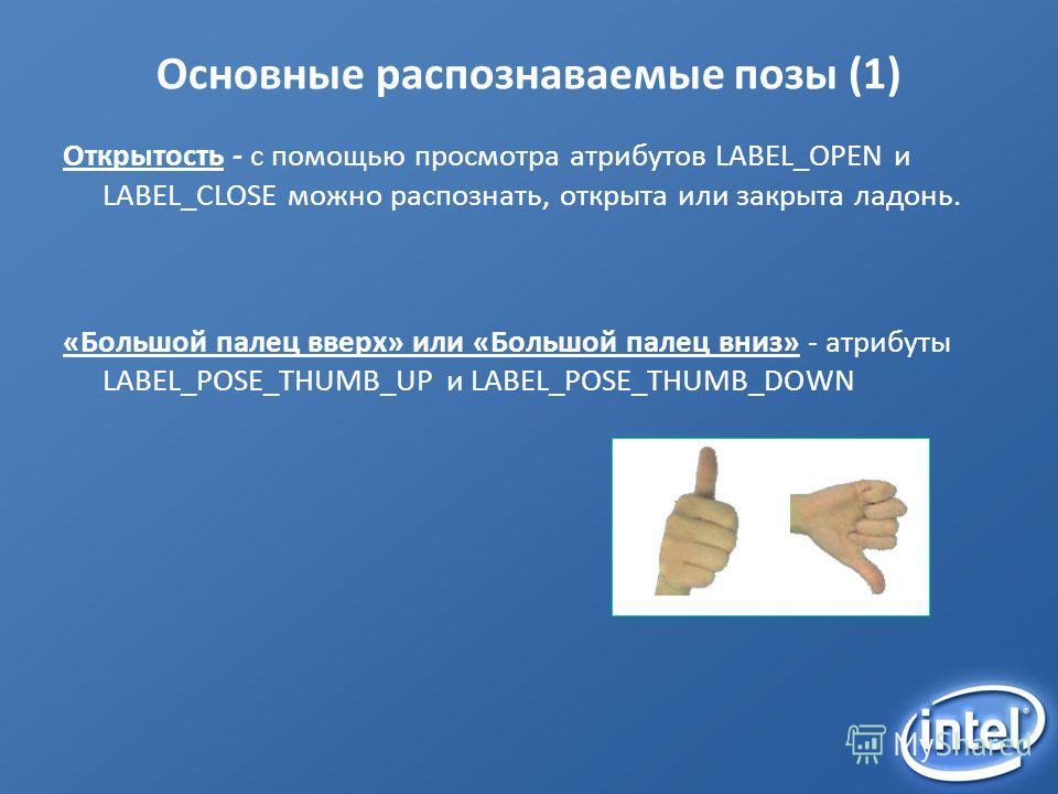 Основные распознаваемые позы (1) Открытость - с помощью просмотра атрибутов LABEL_OPEN и LABEL_CLOSE можно распознать, открыта или закрыта ладонь. «Большой палец вверх» или «Большой палец вниз» - атрибуты LABEL_POSE_THUMB_UP и LABEL_POSE_THUMB_DOWN