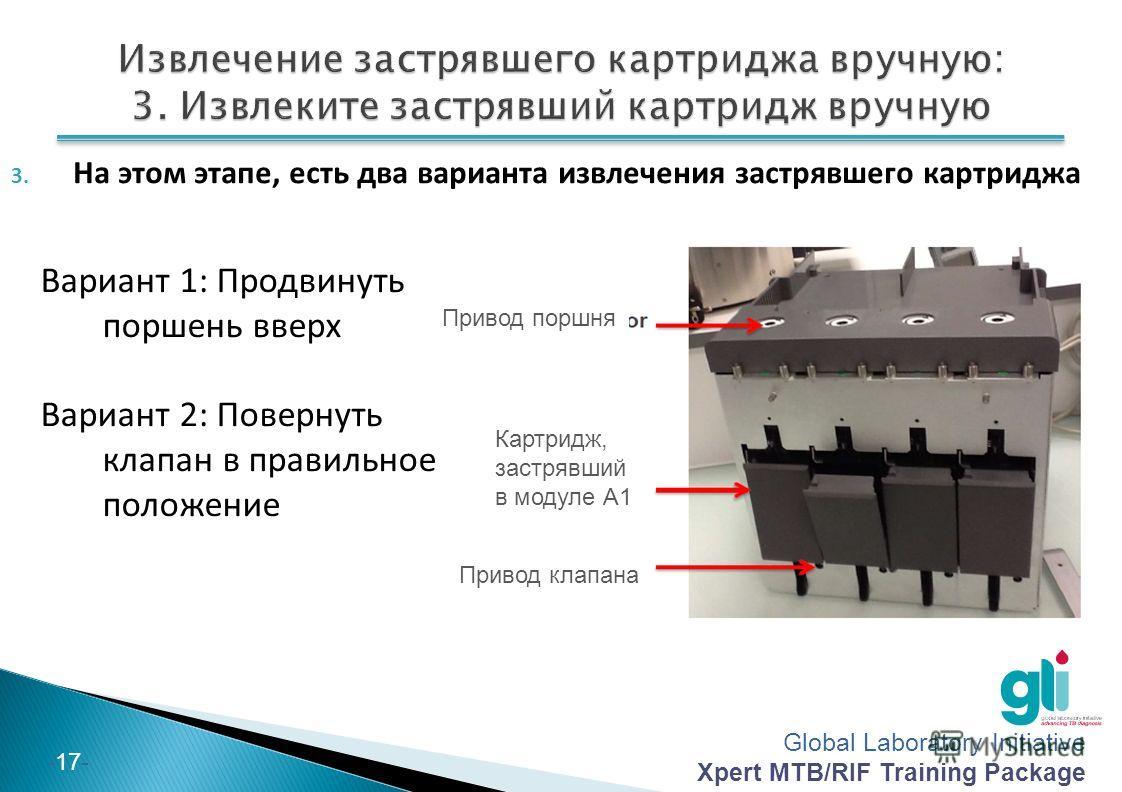 Global Laboratory Initiative Xpert MTB/RIF Training Package -17- 3. На этом этапе, есть два варианта извлечения застрявшего картриджа Вариант 1: Продвинуть поршень вверх Вариант 2: Повернуть клапан в правильное положение Привод поршня Картридж, застр
