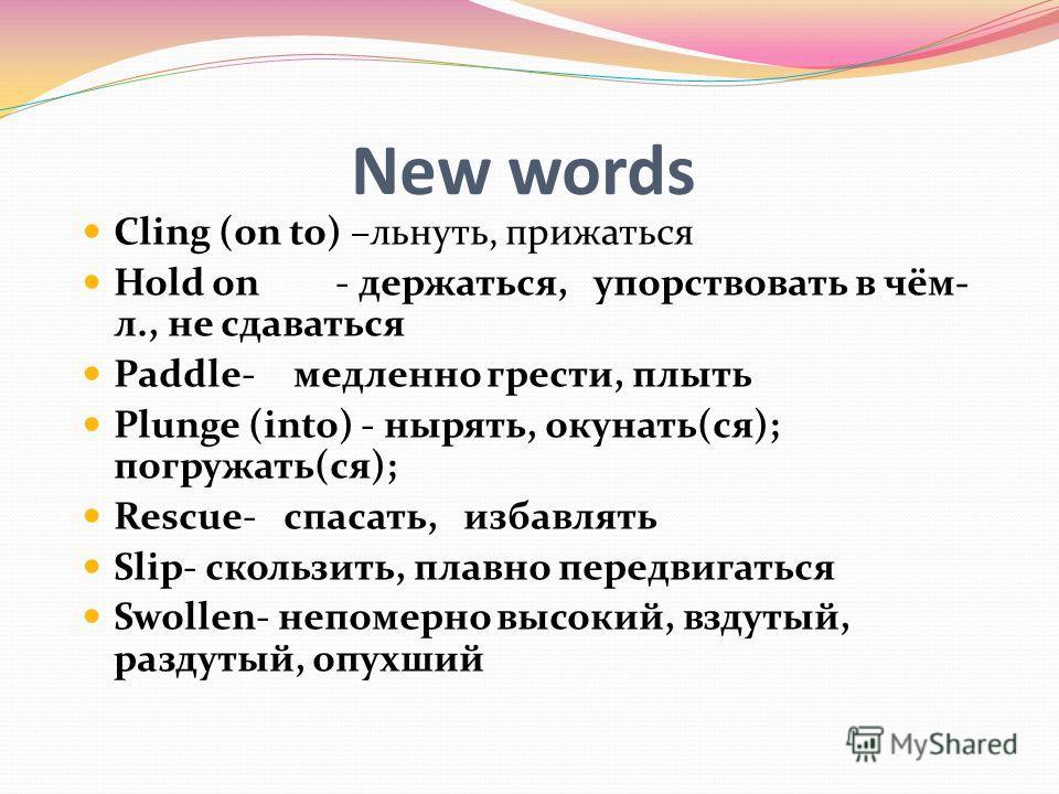 New words Cling (on to) –льнуть, прижаться Hold on - держаться, упорствовать в чём- л., не сдаваться Paddle-медленно грести, плыть Plunge (into) - нырять, окунать(ся); погружать(ся); Rescue- спасать, избавлять Slip- скользить, плавно передвигаться Sw