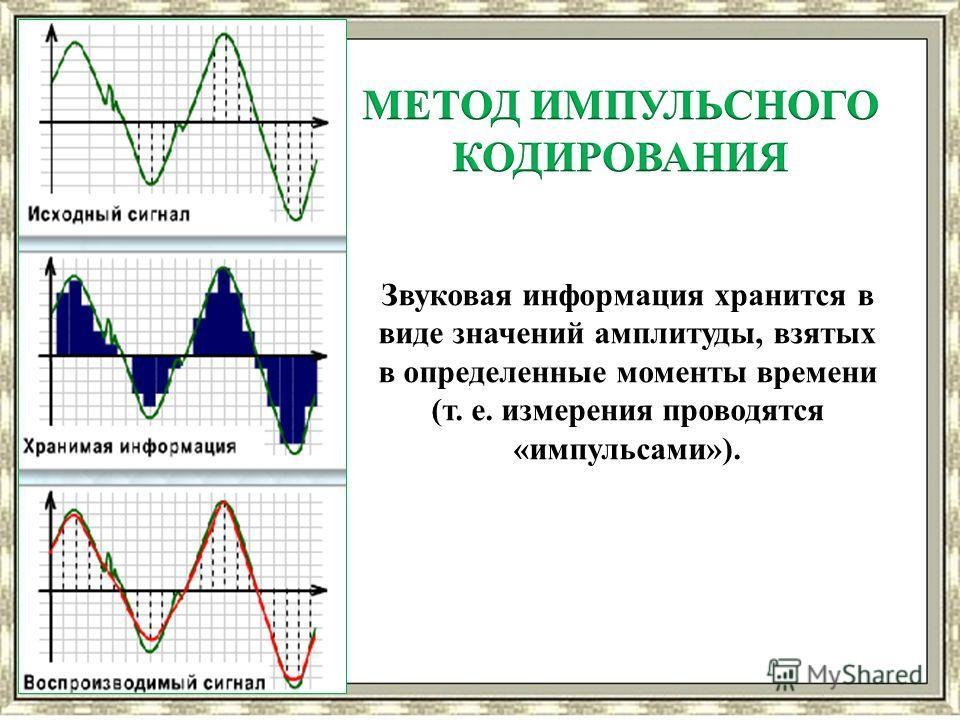 Звуковая информация хранится в виде значений амплитуды, взятых в определенные моменты времени (т. е. измерения проводятся «импульсами»).