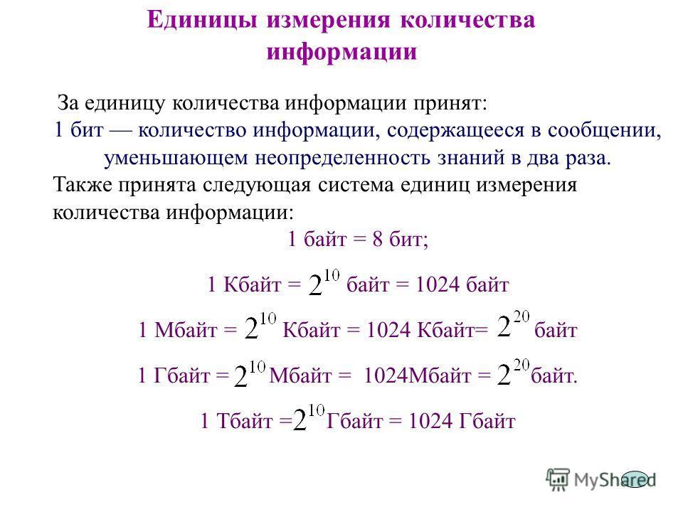5 Единицы измерения количества информации За единицу количества информации принят: 1 бит количество информации, содержащееся в сообщении, уменьшающем неопределенность знаний в два раза. Также принята следующая система единиц измерения количества инфо