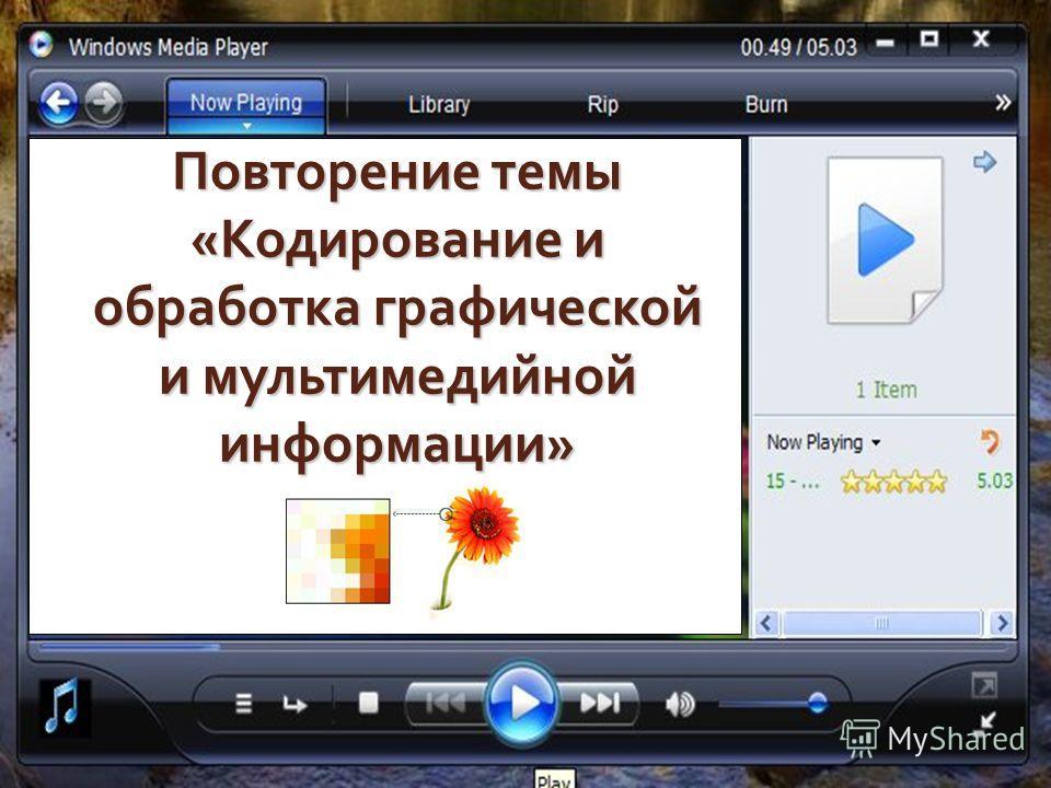 Повторение темы «Кодирование и обработка графической и мультимедийной информации»