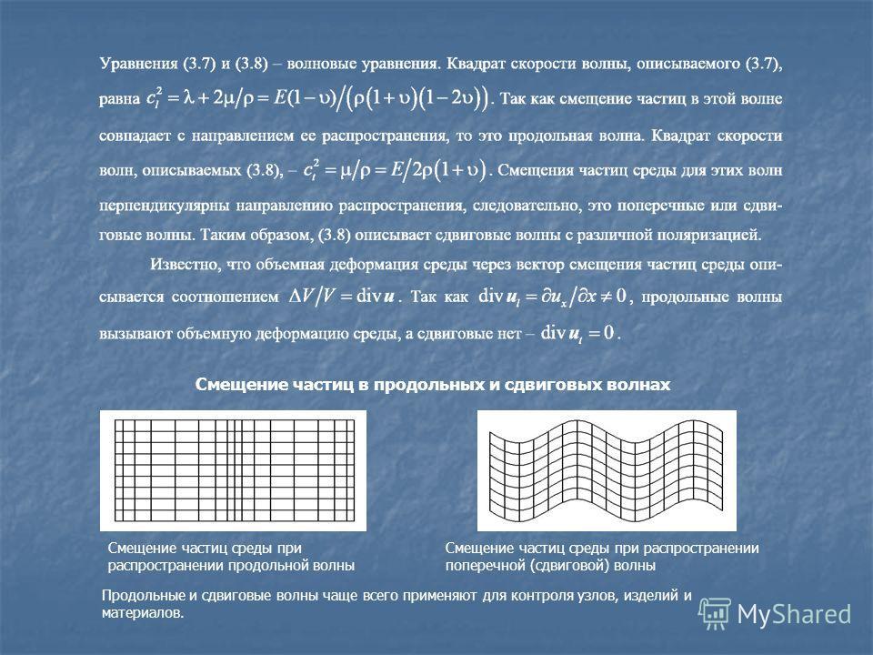 Смещение частиц в продольных и сдвиговых волнах Смещение частиц среды при распространении продольной волны Смещение частиц среды при распространении поперечной (сдвиговой) волны Продольные и сдвиговые волны чаще всего применяют для контроля узлов, из