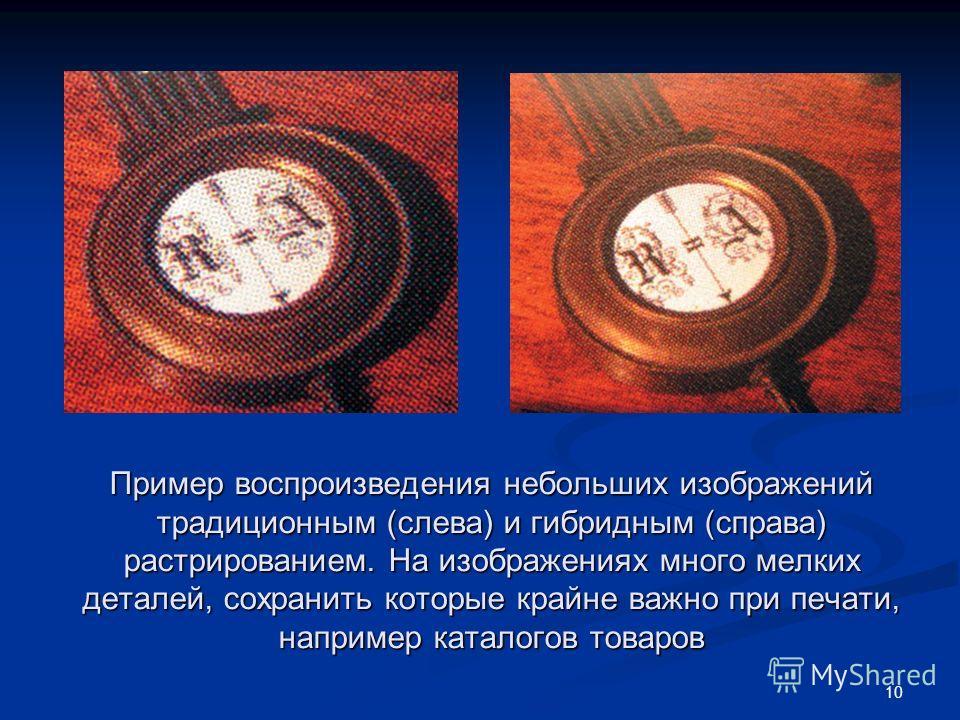 10 Пример воспроизведения небольших изображений традиционным (слева) и гибридным (справа) растрированием. На изображениях много мелких деталей, сохранить которые крайне важно при печати, например каталогов товаров