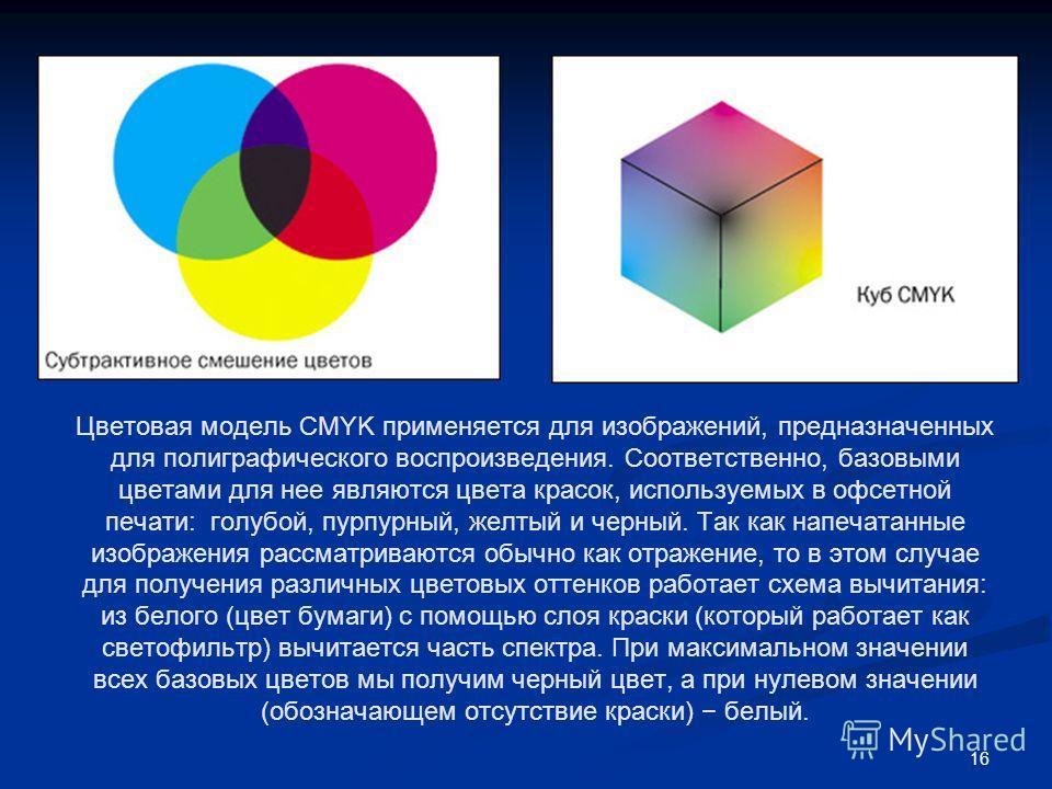 16 Цветовая модель CMYK применяется для изображений, предназначенных для полиграфического воспроизведения. Соответственно, базовыми цветами для нее являются цвета красок, используемых в офсетной печати: голубой, пурпурный, желтый и черный. Так как на