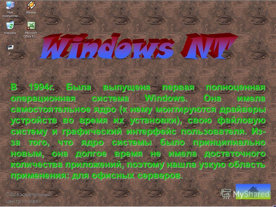 В 1994 г. Была выпущена первая полноценная операционная система Windows. Она имела самостоятельное ядро (к нему монтируются драйверы устройств во время их установки), свою файловую систему и графический интерфейс пользователя. Из- за того, что ядро с