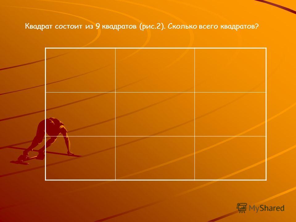 Квадрат состоит из 9 квадратов (рис.2). Сколько всего квадратов?