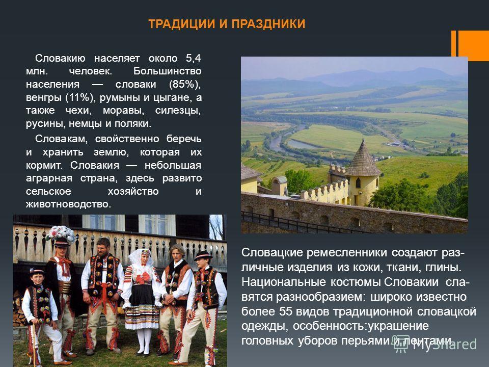 ТРАДИЦИИ И ПРАЗДНИКИ Словакию населяет около 5,4 млн. человек. Большинство населения словаки (85%), венгры (11%), румыны и цыгане, а также чехи, моравы, силезцы, русины, немцы и поляки. Словакам, свойственно беречь и хранить землю, которая их кормит.