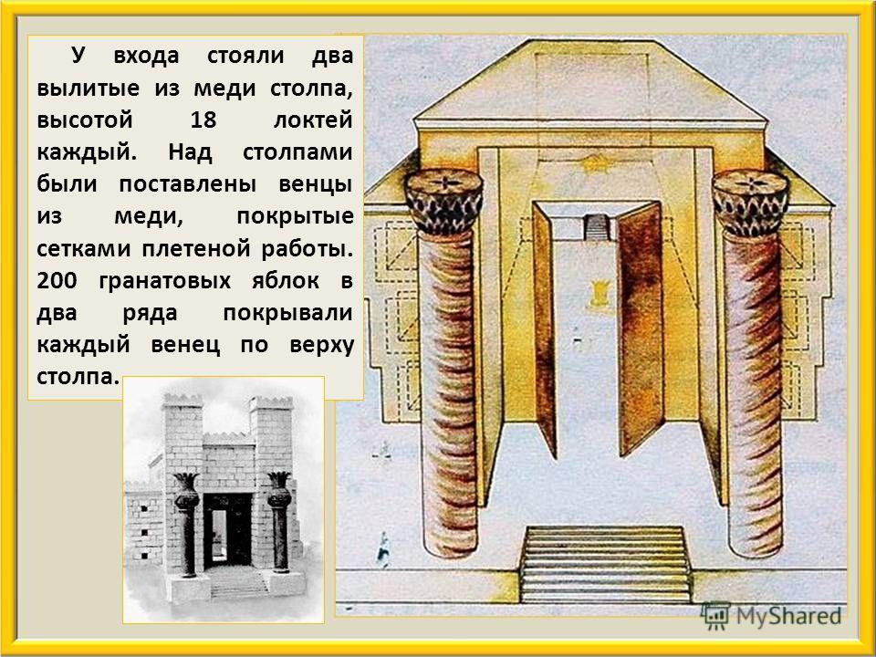 Спереди его возвышалась башня притвора. Макет храма царя Соломона