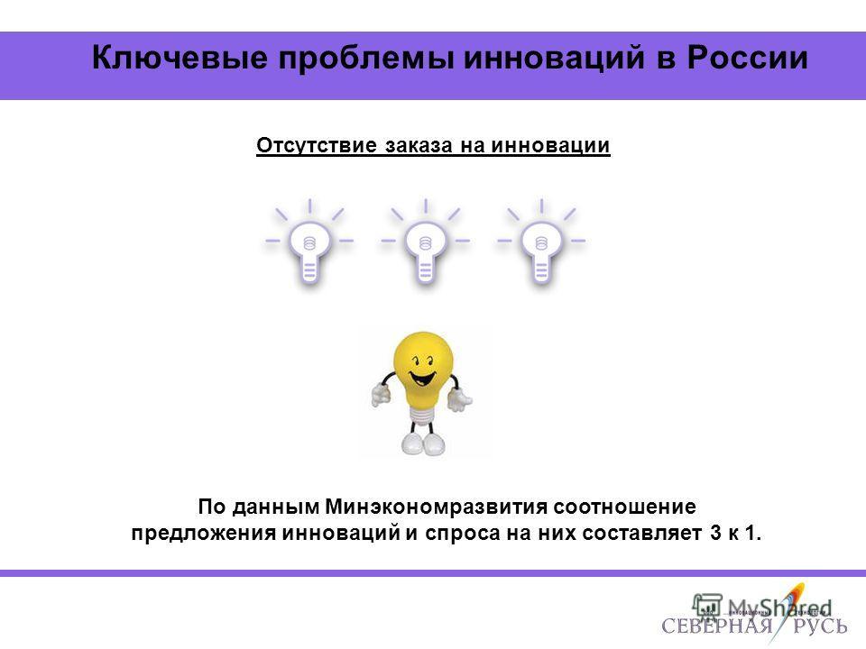 Ключевые проблемы инноваций в России Отсутствие заказа на инновации По данным Минэкономразвития соотношение предложения инноваций и спроса на них составляет 3 к 1.