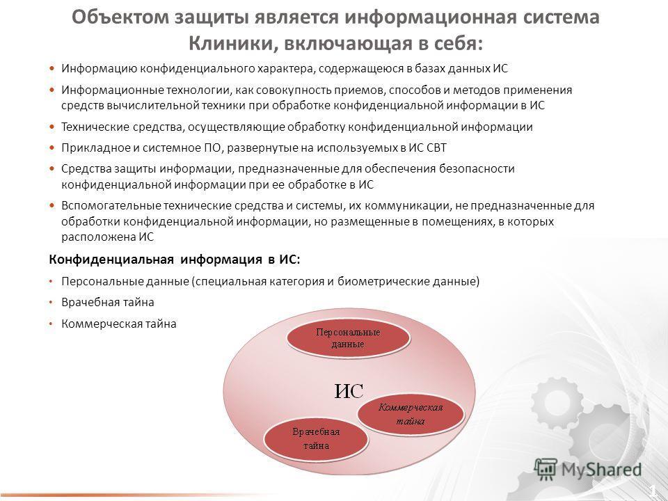 1 Объектом защиты является информационная система Клиники, включающая в себя : Информацию конфиденциального характера, содержащеюся в базах данных ИС Информационные технологии, как совокупность приемов, способов и методов применения средств вычислите