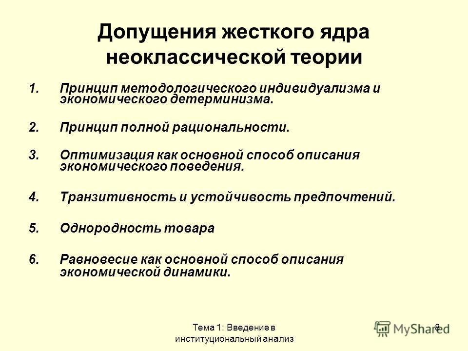 Тема 1: Введение в институциональный анализ 8 Допущения жесткого ядра неоклассической теории 1. Принцип методологического индивидуализма и экономического детерминизма. 2. Принцип полной рациональности. 3. Оптимизация как основной способ описания экон