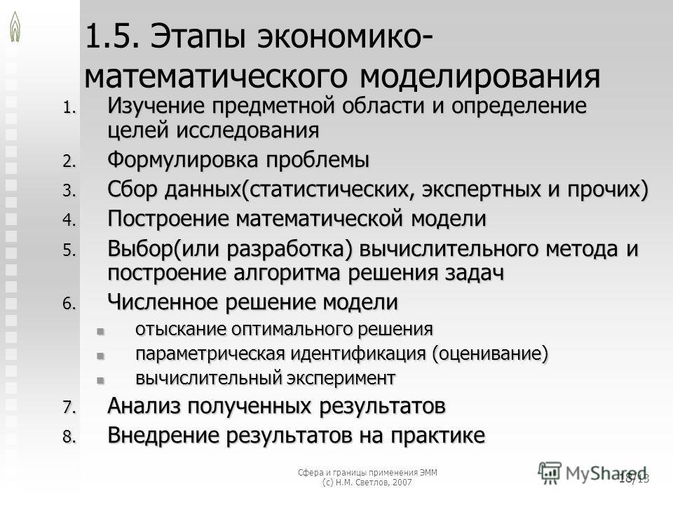 Сфера и границы применения ЭММ (с) Н.М. Светлов, 2007 18/ 13 1.5. Этапы экономико- математического моделирования 1. Изучение предметной области и определение целей исследования 2. Формулировка проблемы 3. Сбор данных(статистических, экспертных и проч
