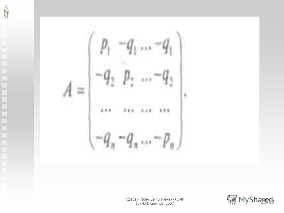 Сфера и границы применения ЭММ (с) Н.М. Светлов, 2007 25/ 13